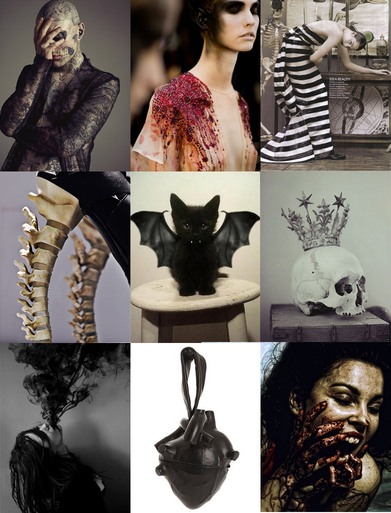 FAIIINT, Inspiration, Mood Board, Fashion, Halloween, Skull, Spine, Zombie, Vampire, Kitten, Cute, Creepy, Gothic, Scary, Blood