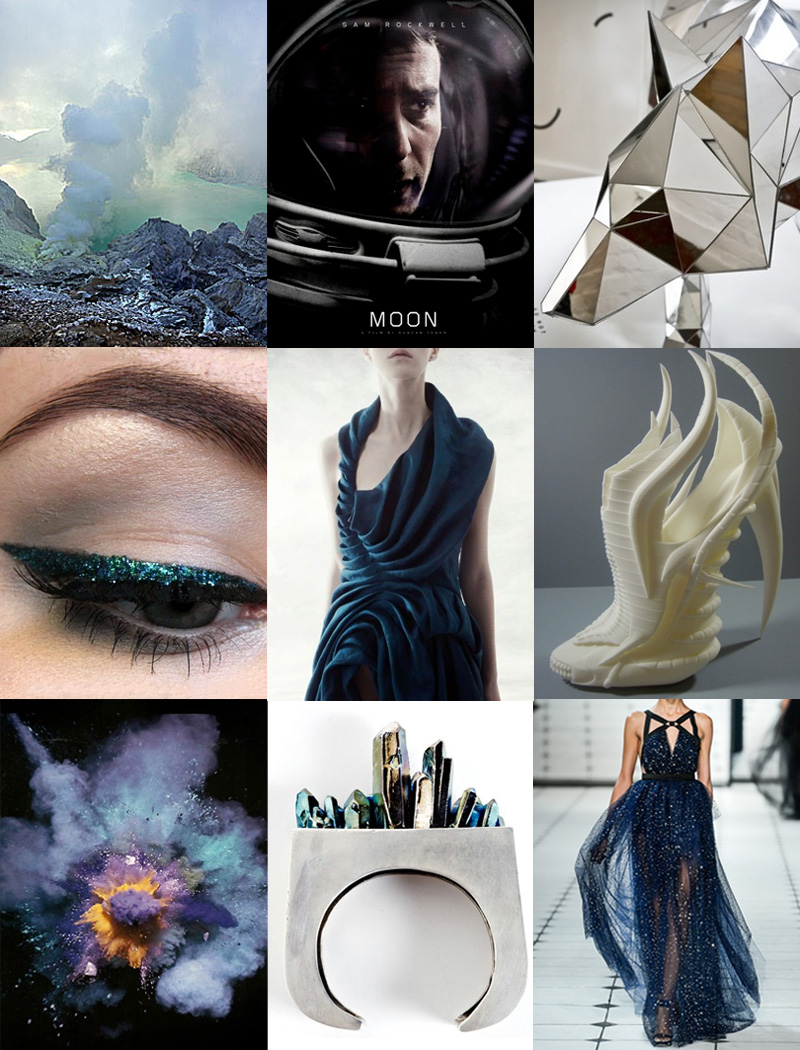 FAIIINT, Inspiration, Mood Board, Fashion, Shoe, Sci Fi, Futuristic, Metallic, Blue, Green, Grey, Black, Pastel, Silver, Alien, Landscape, Crystal,