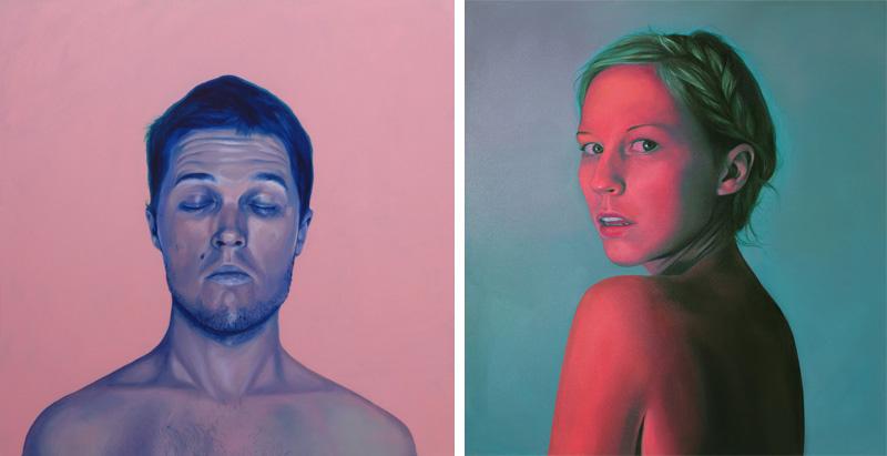 Jen Mann Strange Beauties John & Nightlight, boy & girl portrait, art, painting, illustration, realistic