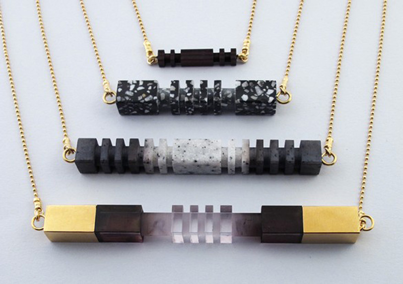 Lily Kamper Ombre Necklaces, Metal Perspex Resin Jewelery