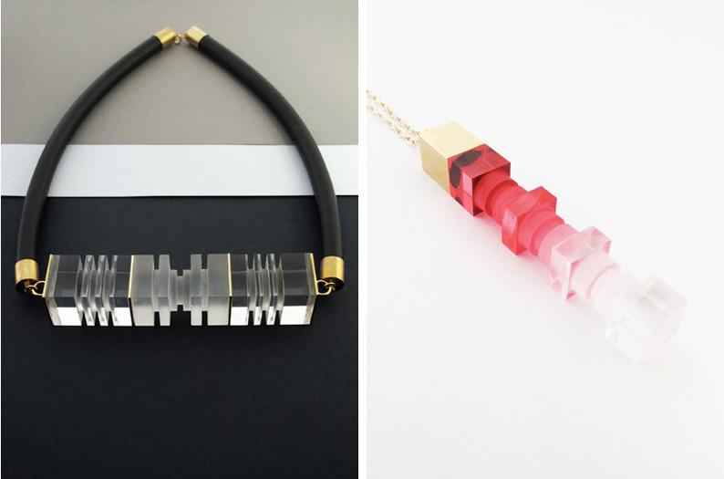 Lily Kamper Ombre Necklace & Bracelet, Metal Perspex Resin Jewelery