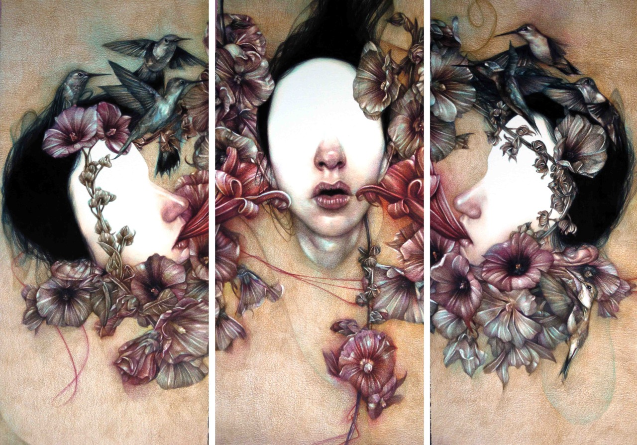 Marco Mazzoni, Hearing Voices, Illustration, Illustrator, Flowers, Birds, Girl, Fashion, Grunge, Pretty