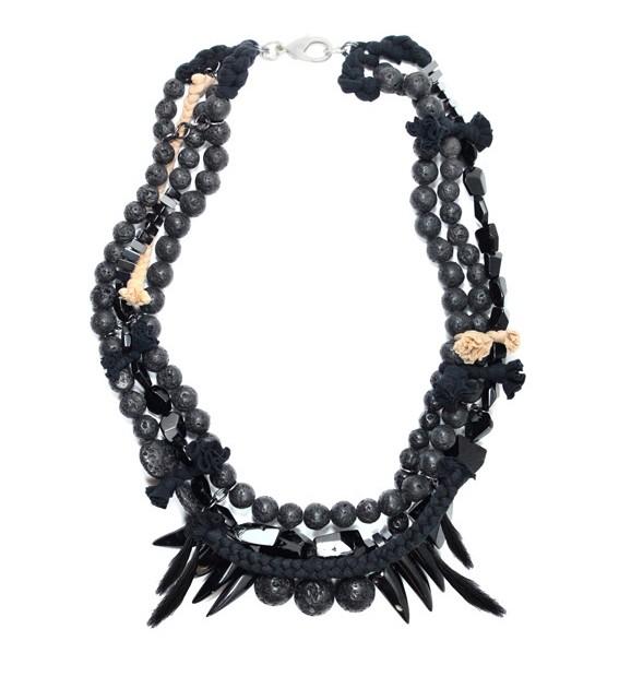 Maria Lau, Autumn / Winter 2011, Collision, Necklace, Stones, Rocks, Spikes, Black