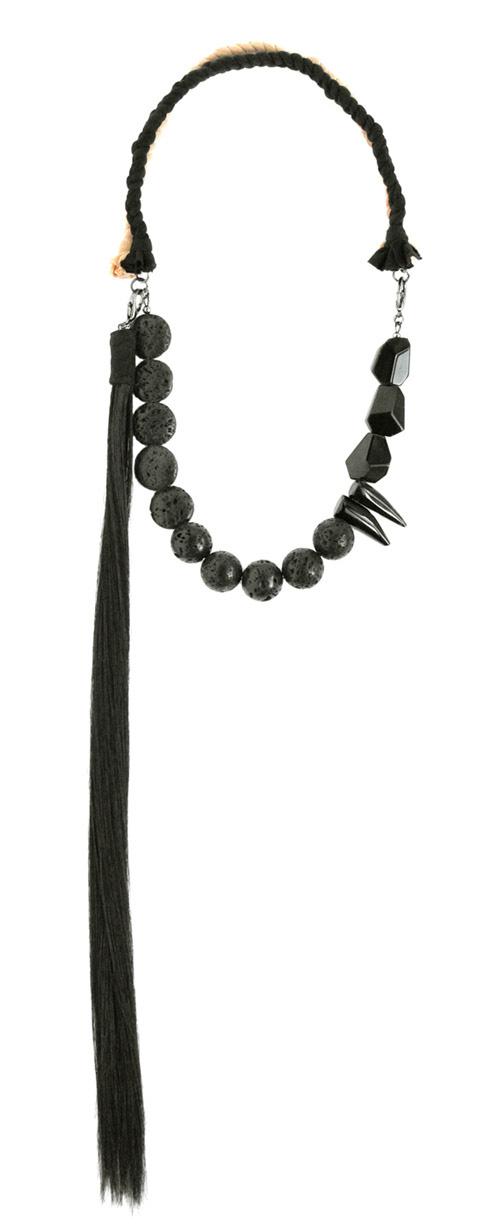 Maria Lau, Autumn / Winter 2011, Venus, Necklace, Stones, Rocks, Spikes, Black, Hair