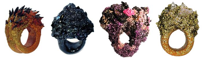 Maud Traon, Rings, Jewellery, Jewelry, Glitter, Spikes, Space, Galaxy, Organic