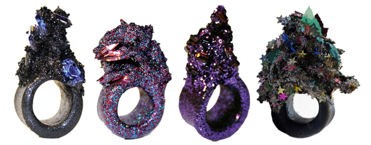 Maud Traon, Rings, Jewellery, Jewelry, Glitter, Spikes, Space, Galaxy