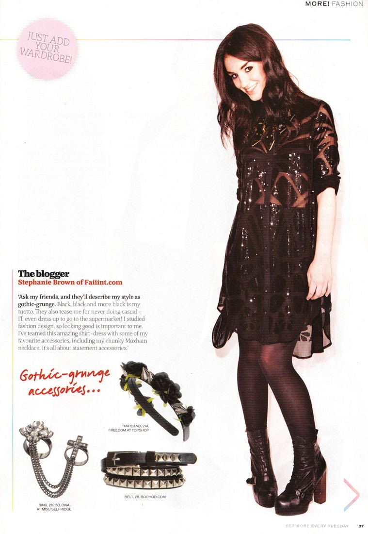 More Magazine, How Would You Wear, Feature, FAIIINT, Stephanie Brown, Blogger, Magazine, Press, Clippings, William Tempest, River Island, Moxham, Anubis, Shirt Dress, Black, Outfit, Styling, Sequin, Sparkly, Glitter, Gothic, Grunge, Topshop,