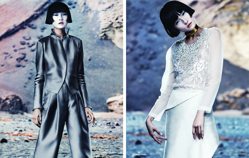 Marcus Ohlsson, Elle UK, March, Editorial, Fashion, New Frontiers, Xiao Wang, Futuristic, Sci Fi, Oriental, Eastern, Minimalism
