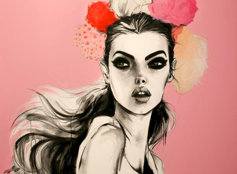 Pippa McManus, Illustration, Fashion, Illustrator, Girl, Model, Flowers, Charcoal, Acrylic, Spray Paint, B&w,
