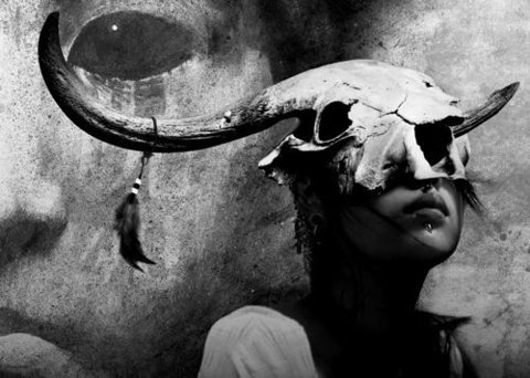 Skull, Cow, Girl, Fashion, Photography, Black & White, B&W, Dark, Fantasy