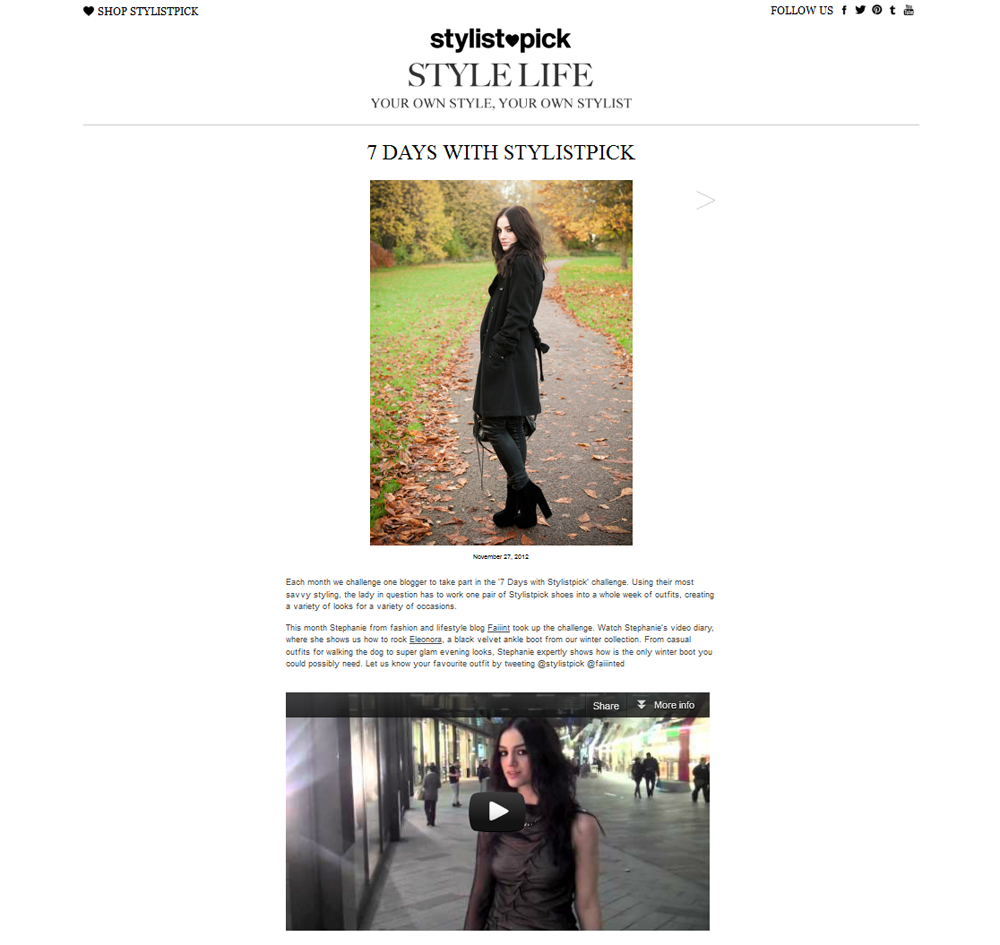 FAIIINT, StylistPick, 7 Day Challenge, 7 Days With Stylist Pick, Eleonora Boots, Steph Brown, Stephanie Brown, Press, Feature, Online, Video Diary, Styling Challenge, Fashion Blogger