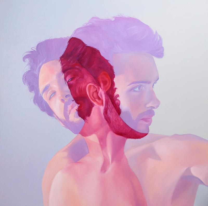 Jen Mann Strange Beauties sway pink & blue man, art, painting, illustration, realistic, double exposure