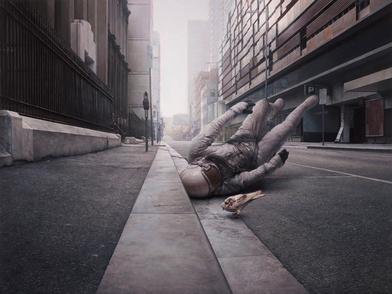 The Street, Jeremy Geddes, Surreal, Surrealist, Oil, Painting, Astronaut, Spaceman, Falling, Doves, Birds, Dreamy, Street, Landscape, City, Empty, Abandoned,