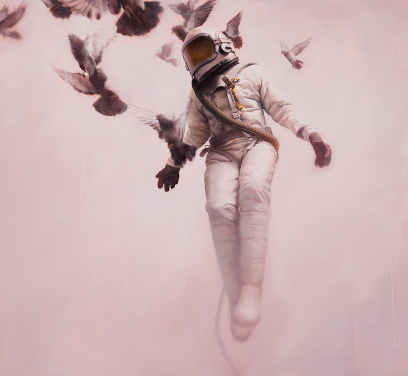 The White Cosmonaut, Jeremy Geddes, Surreal, Surrealist, Oil, Painting, Astronaut, Spaceman, Falling, Doves, Birds, Dreamy,