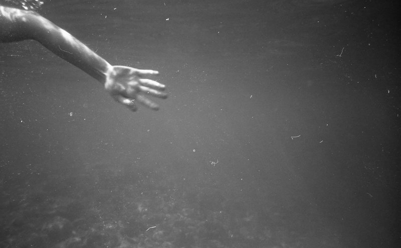 Underwater, Swimming, Sea, Pool, Dreamy, Vintage, Black & White