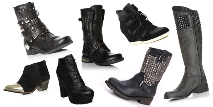 Winter, Autumn, Boots, Leather, Studded, Spiked, Spikes, Trainer, Wedges, Sneaker, Riding, Chunky, Black, Grey, Gold, Silver, KG, Kurt Geiger, Bertie, Steve Madden, Ash, Platform, Buckled, House of Fraser
