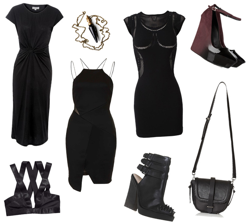 FAIIINT Wishlist Shopping StylistPick Knotted Dress, Etsy Pendant, McQ mesh & jersey paneled dress, Tosphop Strappy Dress, Theyskens Theory Ombre Oxblood & black wedges, H&M Bra, Kurt Geiger Studded Ankle Boots & Cross Body Satchel Bag